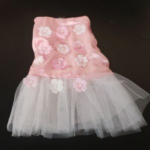 Dog Tulle Dress - Pink with Flowers